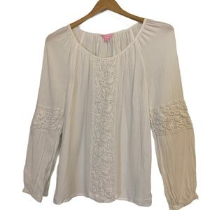 Lilly Pulitzer Boho Soft Peasant Top Blouse White